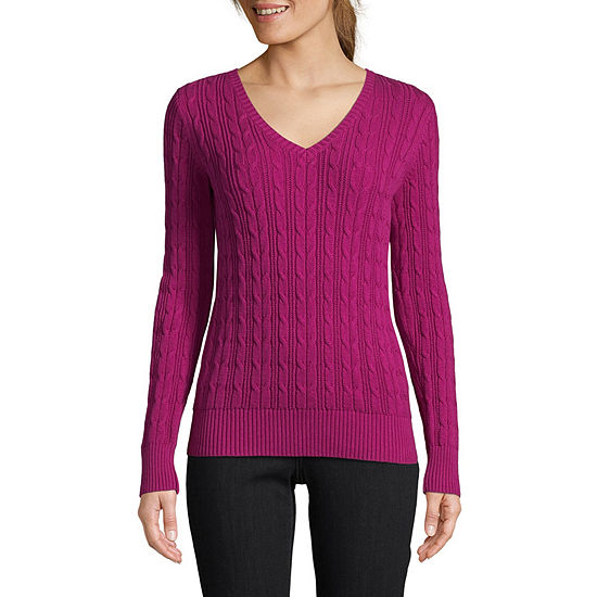 1df6591b57 St. John s Bay Long Sleeve Cable V-Neck Pullover Sweater - JCPenney