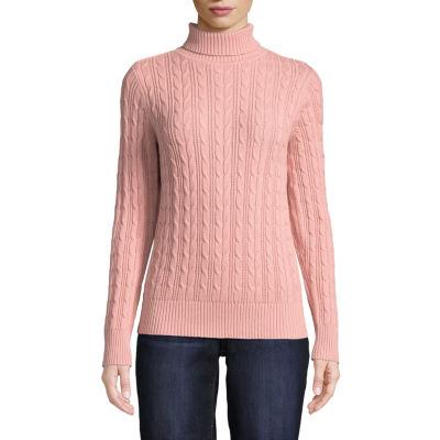 St. John's Bay Womens Turtleneck Long Sleeve Pullover Sweater