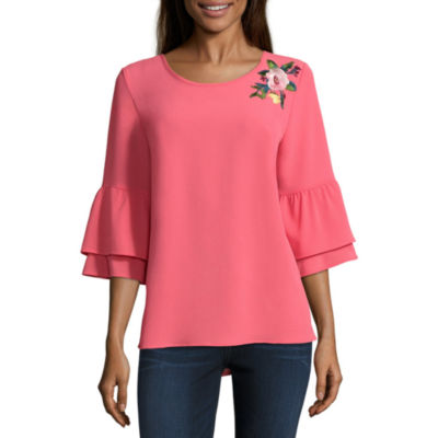 Alyx 3/4 Sleeve Round Neck Woven Embroidered Ruffled Blouse