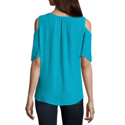 Alyx Short Sleeve Round Neck Woven Blouse