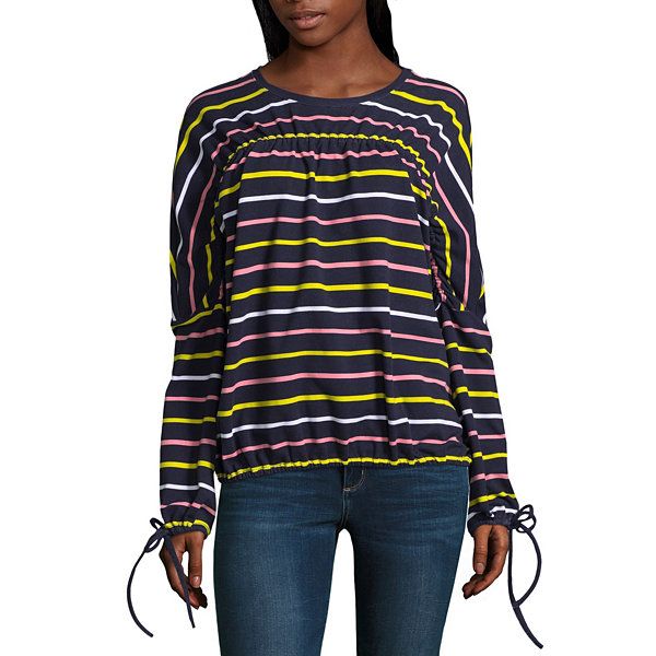 Project Runway Long Sleeve Ruched Top with Ties
