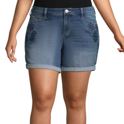 """Boutique + 6"""" Embroidered Rolled-Up Denim Shorts - Plus"""