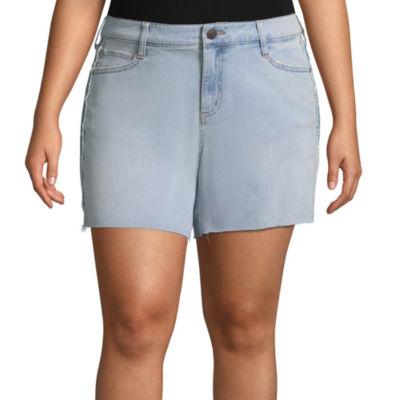 Boutique + Side Stripe Denim Shorts - Plus
