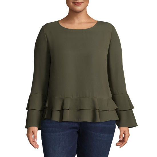Worthington Ruffle Sleeve Woven Blouse - Plus