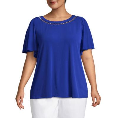 Liz Claiborne Short Sleeve Draped Shoulder Blouse - Plus