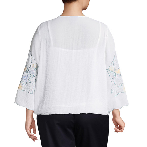 Liz Claiborne 3/4 Sleeve Embroidered Top- Plus
