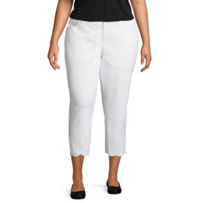 Liz Claiborne Boyfriend Slim Leg Scallop Edge Crop Jean- Plus