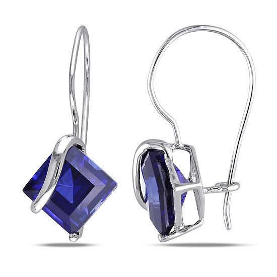 Lab Created Blue Sapphire 10K White Gold Square Drop Earrings