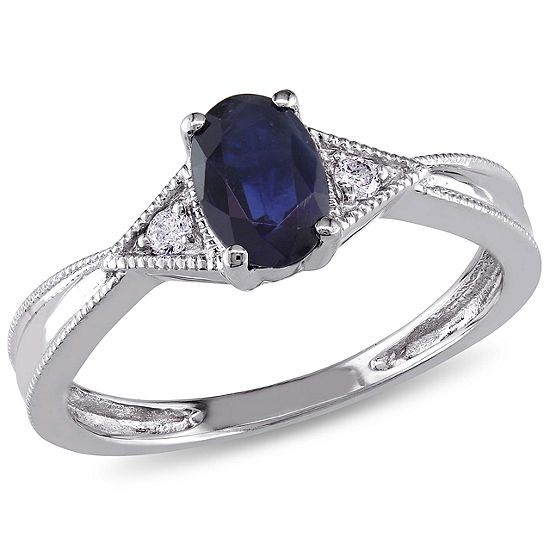 Womens Diamond Accent Genuine Blue Sapphire 14K White Gold Oval Engagement Ring