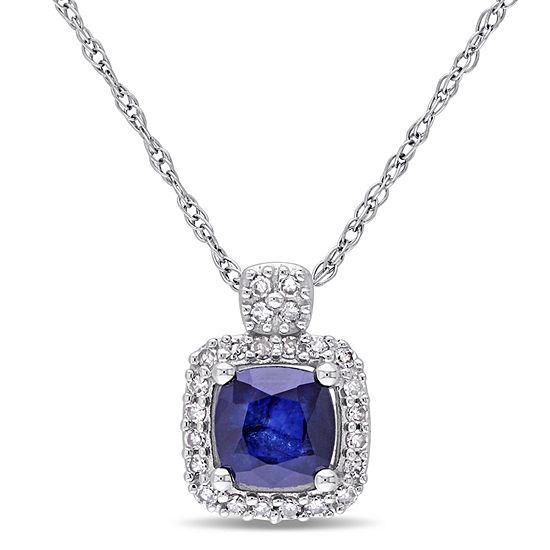 Womens 1/10 CT. T.W. Genuine Blue Sapphire 10K White Gold Pendant Necklace