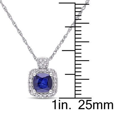 Womens 1/10 CT. T.W. Blue Sapphire 10K White Gold Pendant Necklace