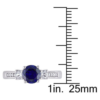 Womens Diamond Accent Blue Sapphire 10K White Gold Round 3-Stone Ring