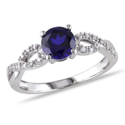 Womens 1/10 CT. T.W. Blue Sapphire 10K White Gold Round Engagement Ring