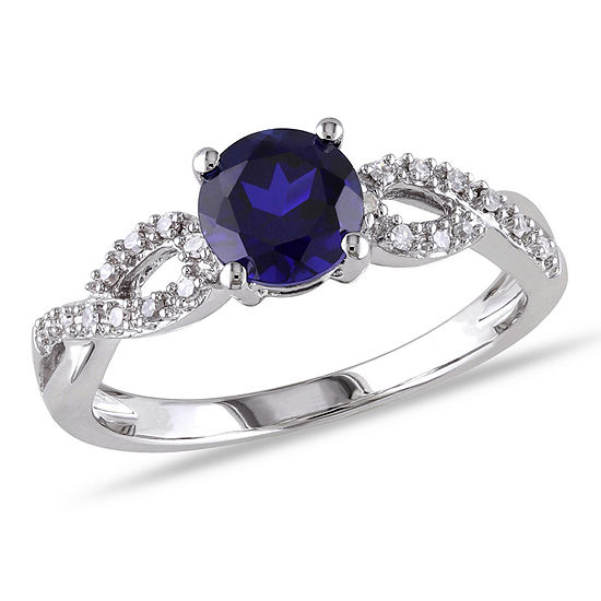 Womens 1/10 CT. T.W. Lab Created Blue Sapphire 10K White Gold Round Engagement Ring