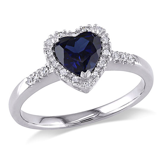 Womens 1/10 CT. T.W. Lab Created Blue Sapphire 10K White Gold Heart Cocktail Ring