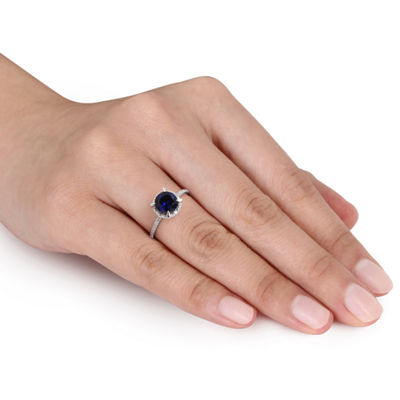 Womens Diamond Accent Blue Sapphire 10K White Gold Round Cocktail Ring
