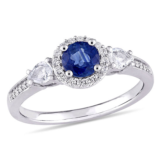Womens 1/8 CT. T.W. Genuine Blue Sapphire 14K White Gold Round 3-Stone Engagement Ring