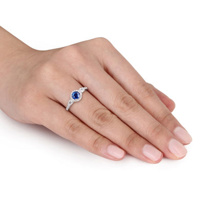 Womens 1/8 CT. T.W. Blue Sapphire 14K White Gold Round 3-Stone Ring