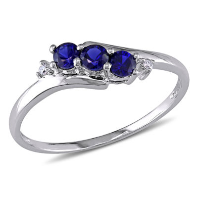 Womens Diamond Accent Lab Created Round Blue Sapphire 10K Gold 3-Stone Ring