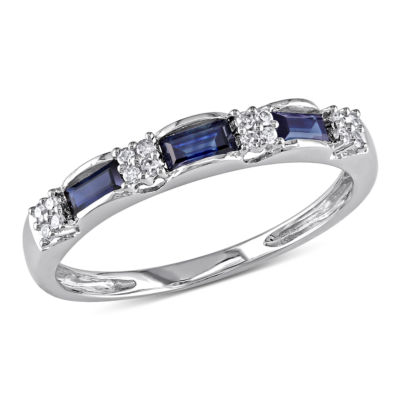 Womens 2mm Diamond Accent Blue Sapphire 10K White Gold Anniversary Band