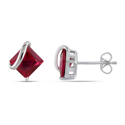Red Ruby 10K White Gold Square Ear Pins