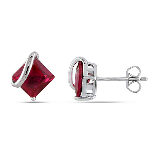 Lab Created Red Ruby 10K White Gold Square Ear Pins