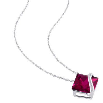 Womens Lab Created Red Ruby 10K White Gold Square Pendant Necklace
