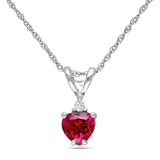 Womens Diamond Accent Lab Created Red Ruby 10K White Gold Heart Pendant Necklace