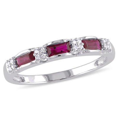 Womens 2mm Diamond Accent Lead Glass-Filled Red Ruby 10K White Gold Anniversary Band