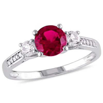 Womens Diamond Accent Red Ruby 10K White Gold Round 3-Stone Ring