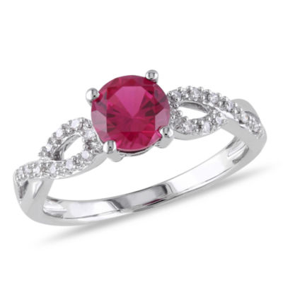 Womens 1/10 CT. T.W. Lab Created Round Red Ruby 10K Gold Cocktail Ring
