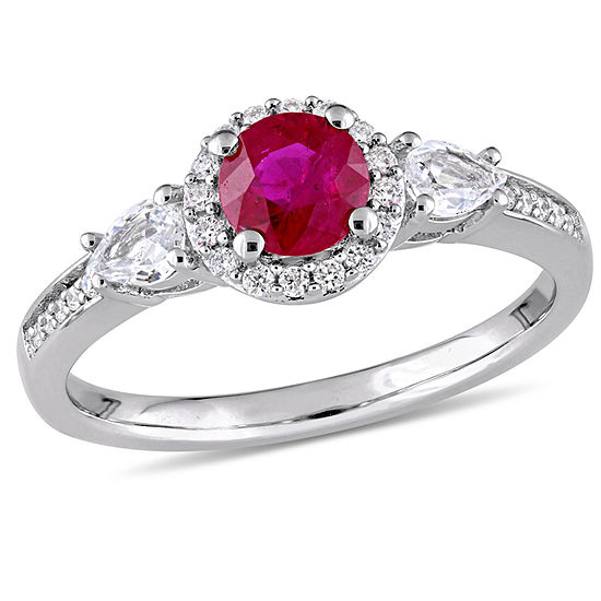 Womens 1 8 Ct Tw Lead Glass Filled Red Ruby 14k White Gold Round Engagement Ring