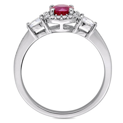 Womens 1/8 CT. T.W. Round Red Ruby 14K Gold Cocktail Ring