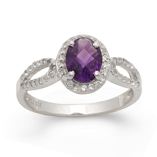 Womens Genuine Purple Amethyst Sterling Silver Oval Halo Cocktail Ring