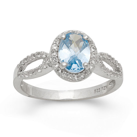 Womens Lab Created Blue Aquamarine Sterling Silver Oval Halo Cocktail Ring