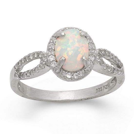 Womens Lab Created White Opal Sterling Silver Oval Halo Cocktail Ring