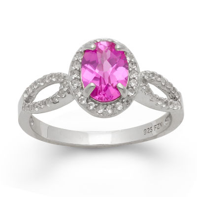 Womens Pink Sapphire Sterling Silver Oval Cocktail Ring