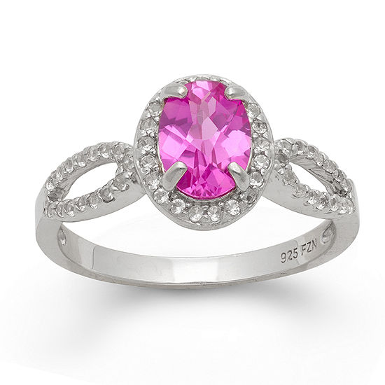 Womens Lab Created Pink Sapphire Sterling Silver Oval Halo Cocktail Ring