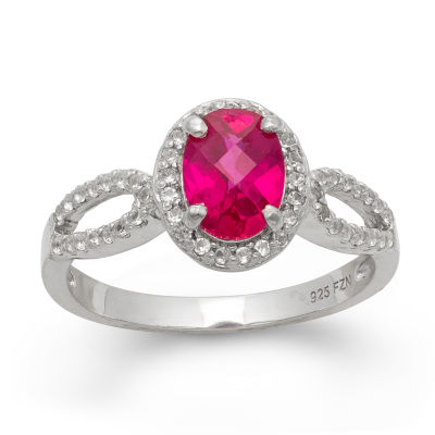 Womens Red Ruby Sterling Silver Oval Halo Cocktail Ring