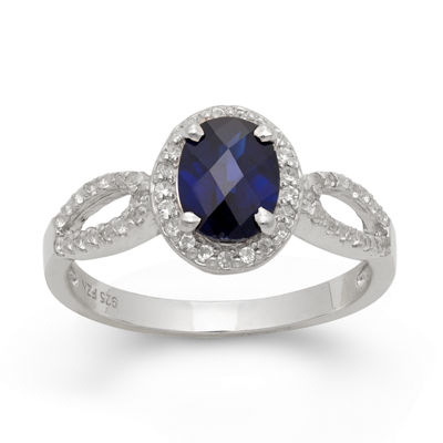 Womens Lab Created White Sapphire Oval Halo Cocktail Ring