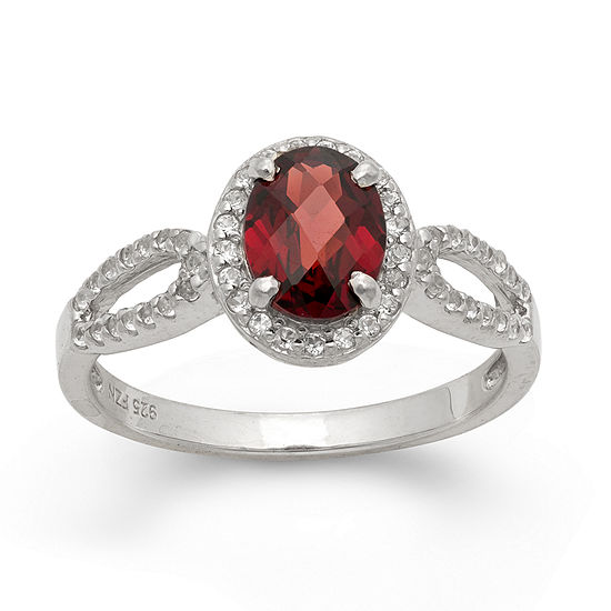 Womens Genuine Red Garnet Sterling Silver Oval Halo Cocktail Ring