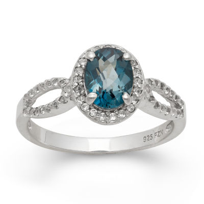 Womens Blue Topaz Sterling Silver Oval Cocktail Ring