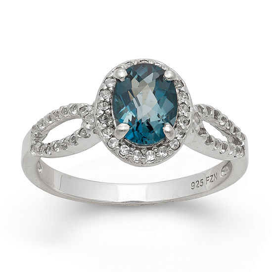 Womens Genuine Blue Topaz Sterling Silver Oval Halo Cocktail Ring