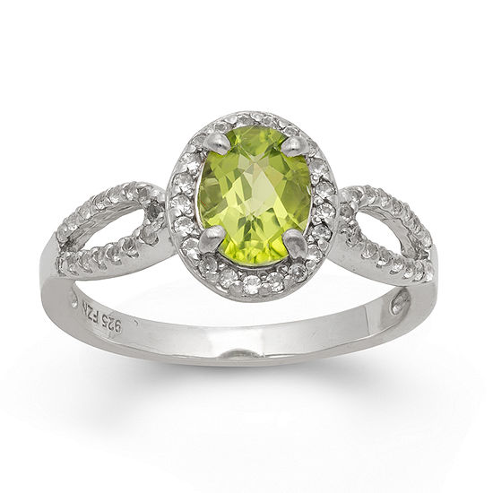 Womens Genuine Green Peridot Sterling Silver Oval Halo Cocktail Ring