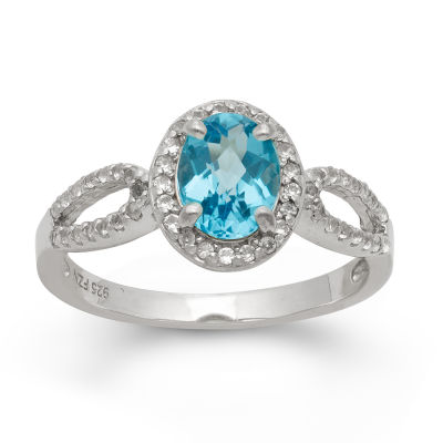 Womens Blue Topaz Sterling Silver Oblong Cocktail Ring