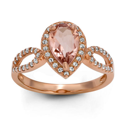 Womens Simulated Pink Morganite 14K Rose Gold Over Silver Pear Cocktail Ring