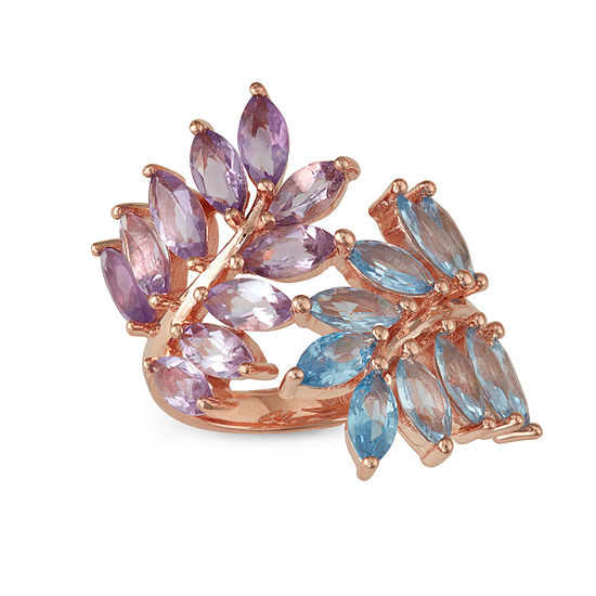Womens Genuine Purple Amethyst 14K Rose Gold Over Silver Oblong Cocktail Ring