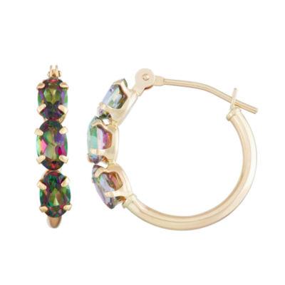 Mystic Fire Topaz 10K Gold 18.1mm Oval Hoop Earrings