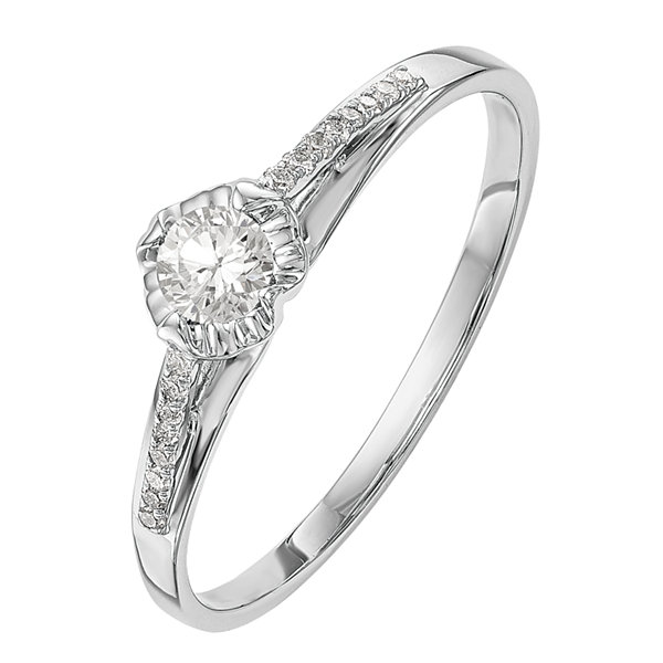 Promise My Love Womens 1/4 CT. T.W. Genuine Round White Diamond 14K Gold Promise Ring