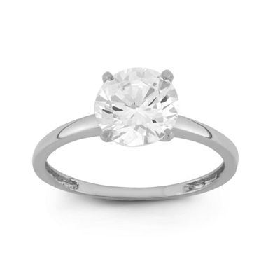 Womens 2 CT. T.W. White Cubic Zirconia 10K Gold Round Engagement Ring